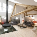 Contemporary Renovated House In Luxembourg With Open Attic Living Room