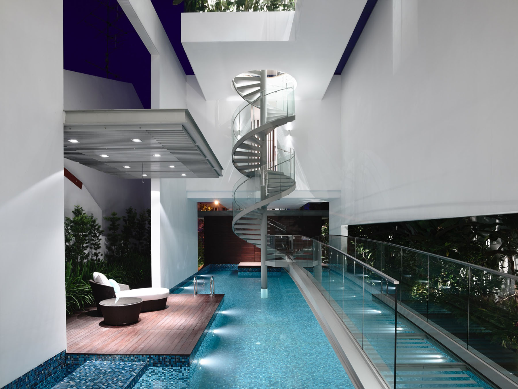 Stylish Modern Home with Interior Swimming Pool and Glass Spiral Staircase