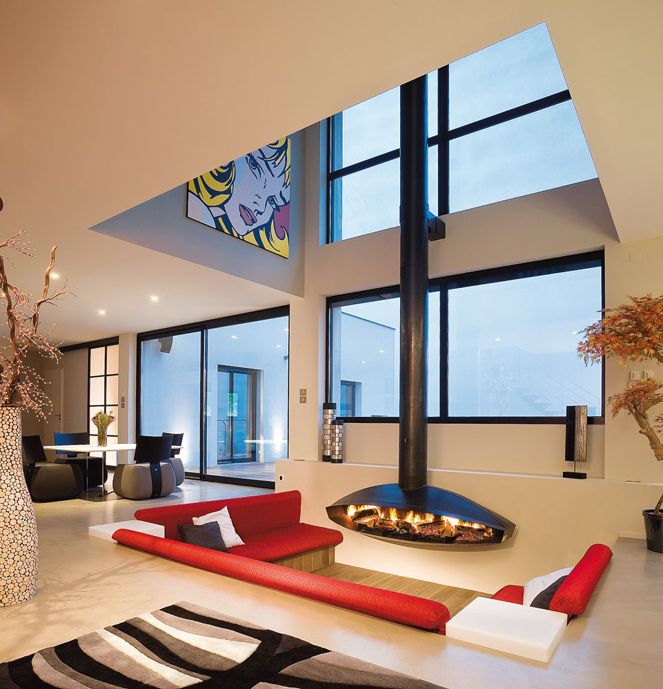 Fire and art idesignarch interior design architecture - Modern fireplace living room design ...