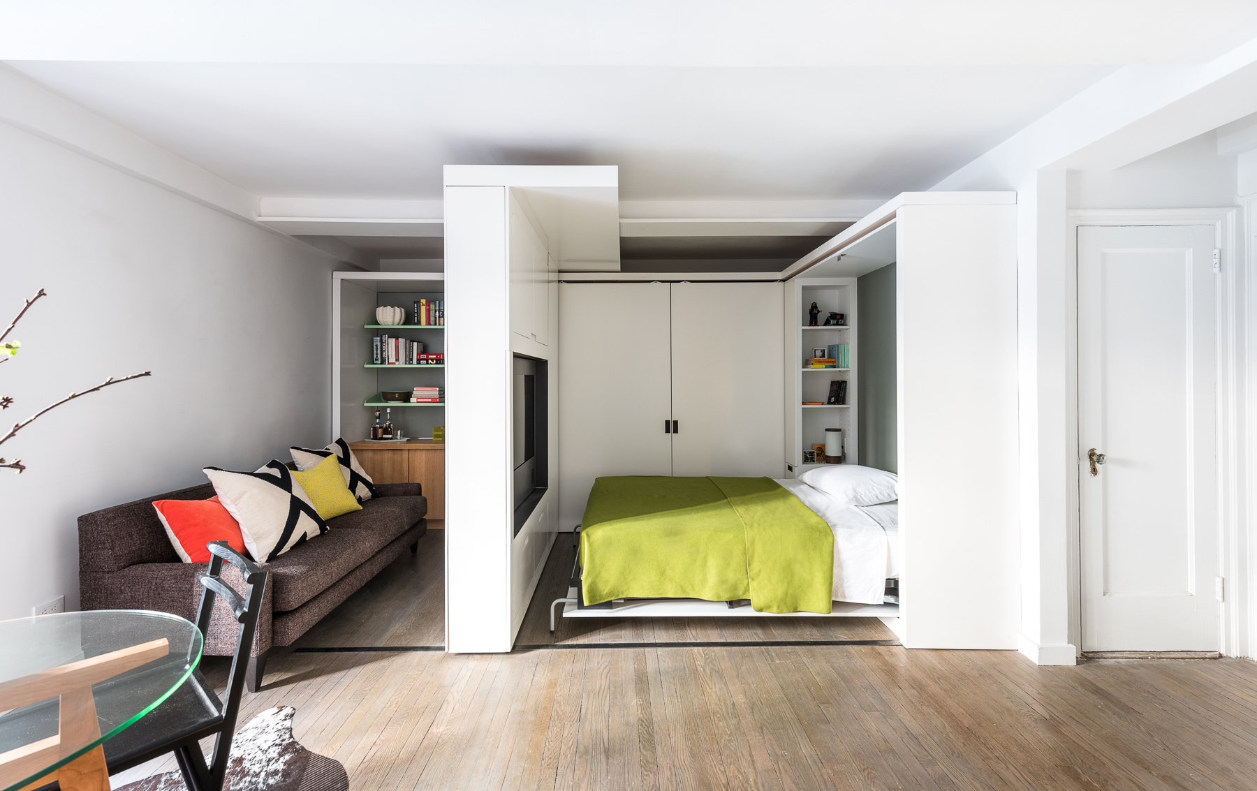 390 square foot micro apartment with multifunctional for Tiny modern apartment