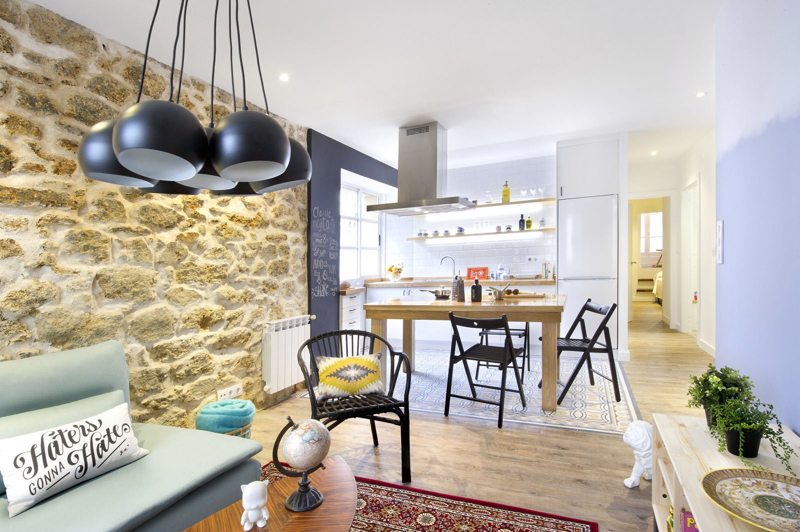 Charming Small Apartment With Stone Walls And Bright Modern Decor ...