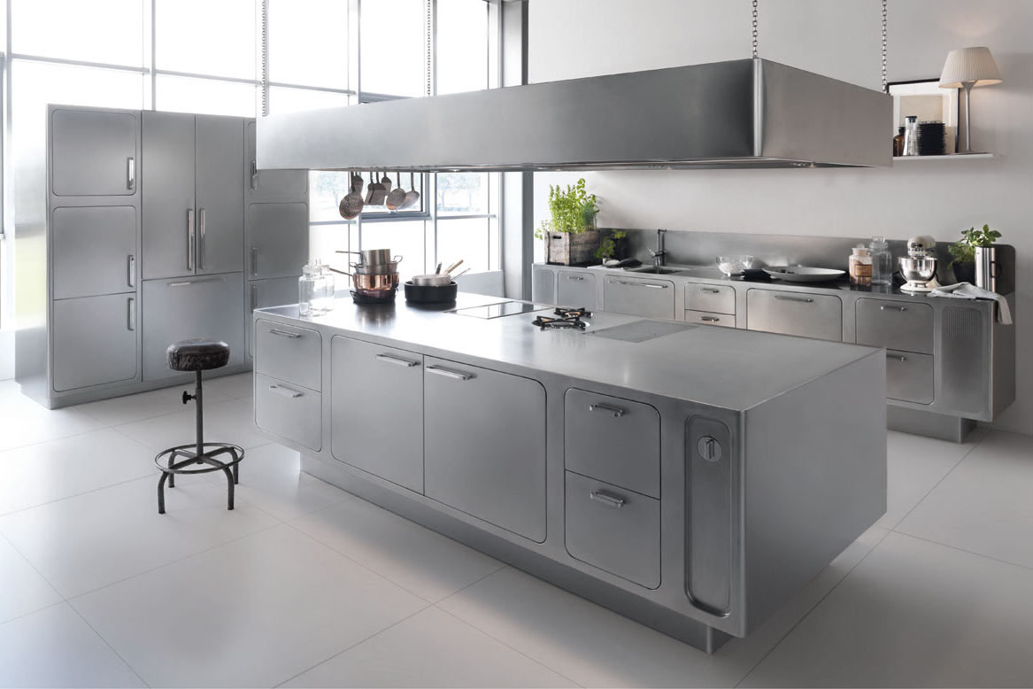 Italian designed ergonomic and hygienic stainless steel for Professional kitchen design