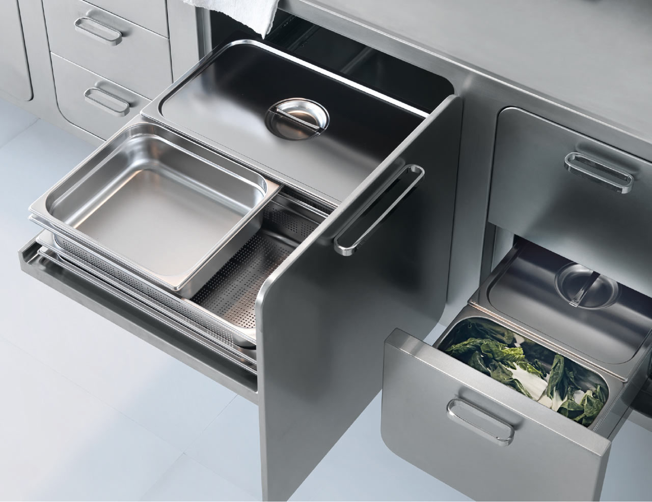 Italian designed ergonomic and hygienic stainless steel for Kitchen cabinets stainless steel