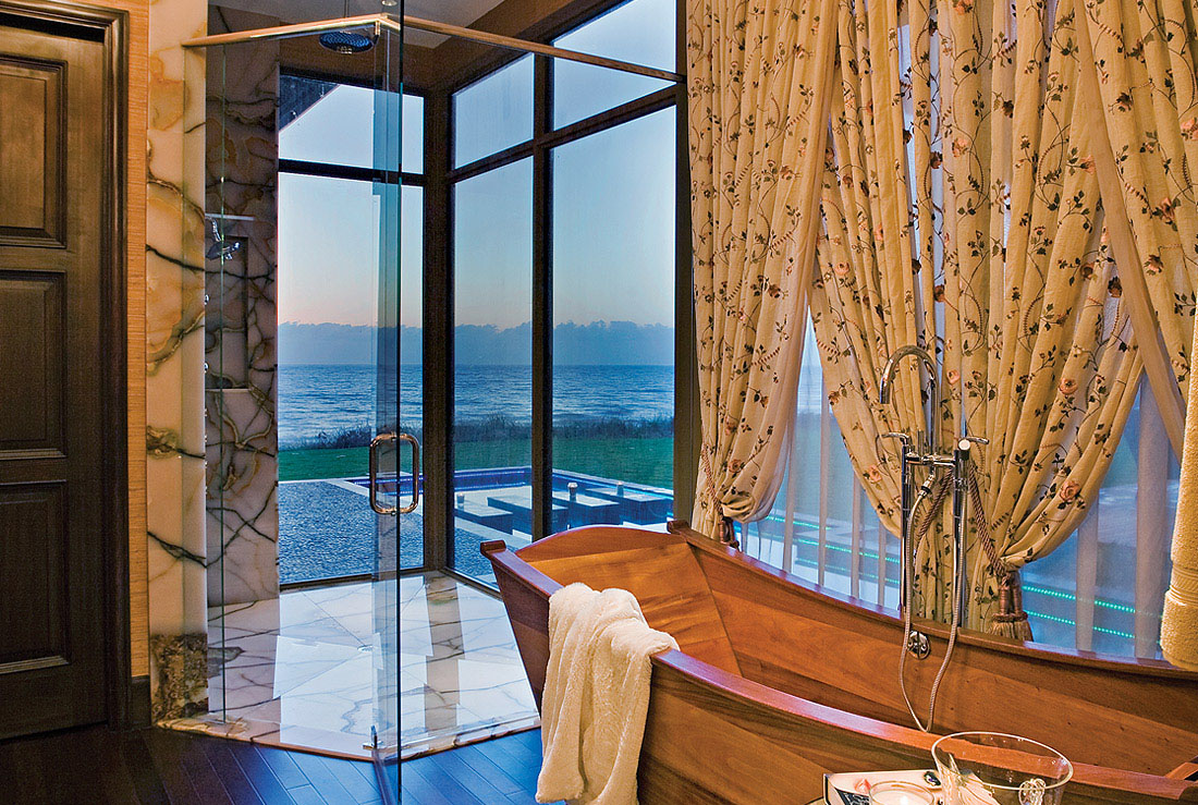 Ocean View Bathroom with Mahogany Soaking Tub and Steam Shower