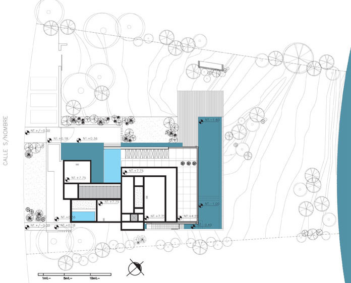 Modern stone wall house with water elements idesignarch for Modern site plan