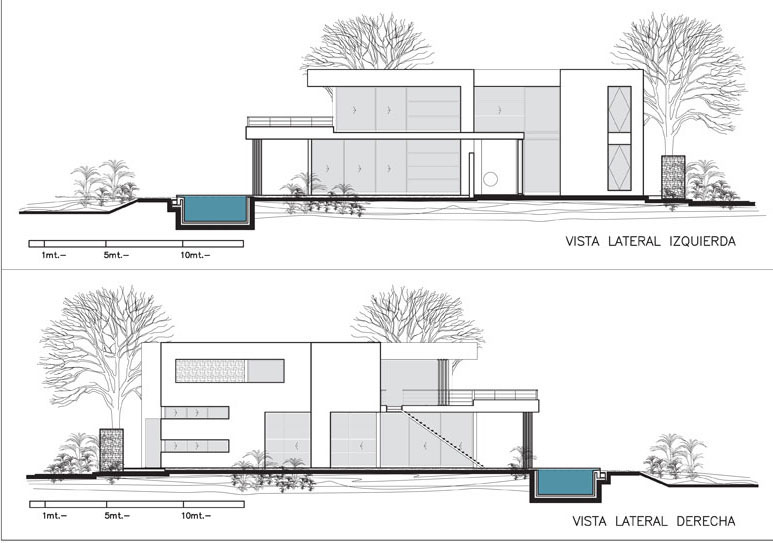 Stone Wall Elevation Drawing : Modern stone wall house with water elements idesignarch