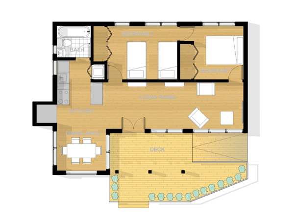 Small Beach Bungalow Floor Plan
