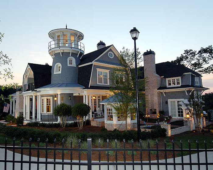 Traditional shingle style classic american cottage with for Shingle style beach house plans