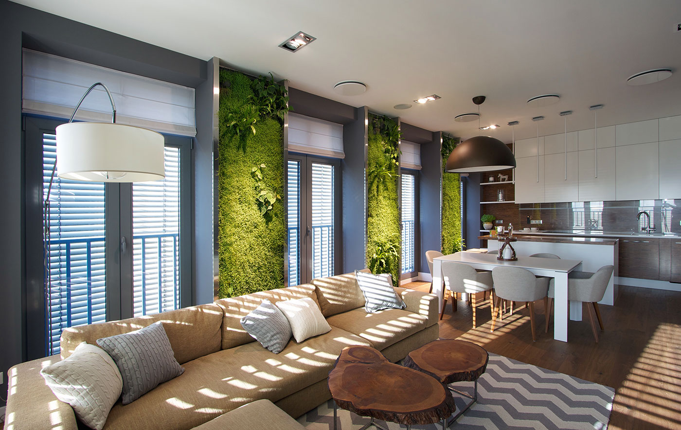 Stylish Contemporary Apartment with Interior Greenery