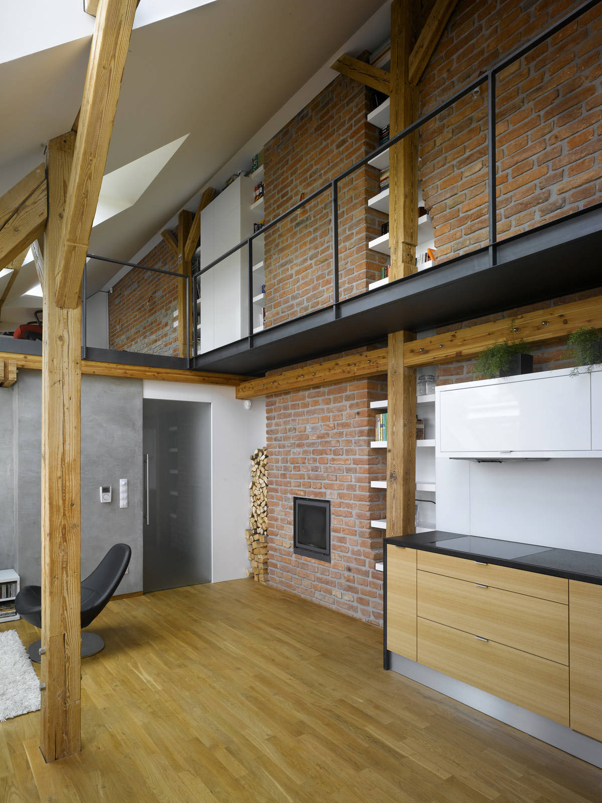 Small attic loft apartment in prague idesignarch Small loft apartment design