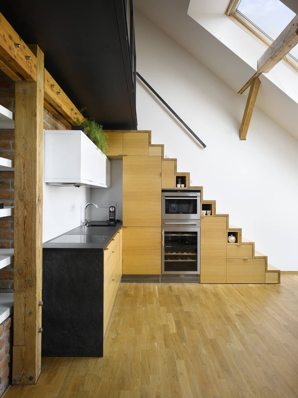 Small attic loft apartment in prague idesignarch for Attic kitchen designs