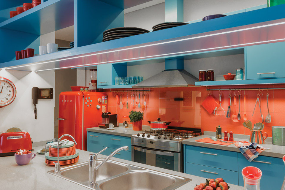 Midcentury Modern Kitchen Design with Retro Fridge
