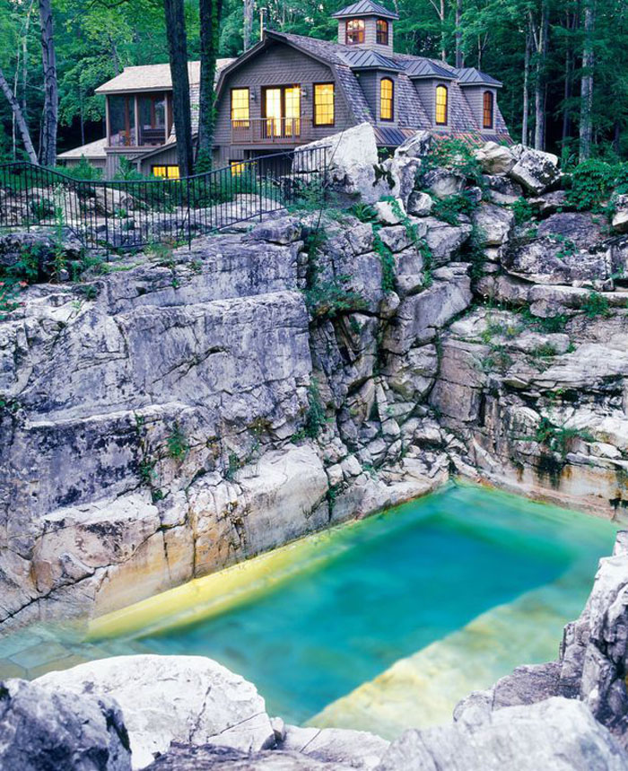 Natural backyard swimming pool converted from an old limestone quarry idesignarch interior - Backyard designs with pools ...