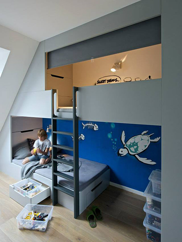 Boy Bedroom Storage: Boys' Bedroom With Sleeping Loft And Plenty Of Storage