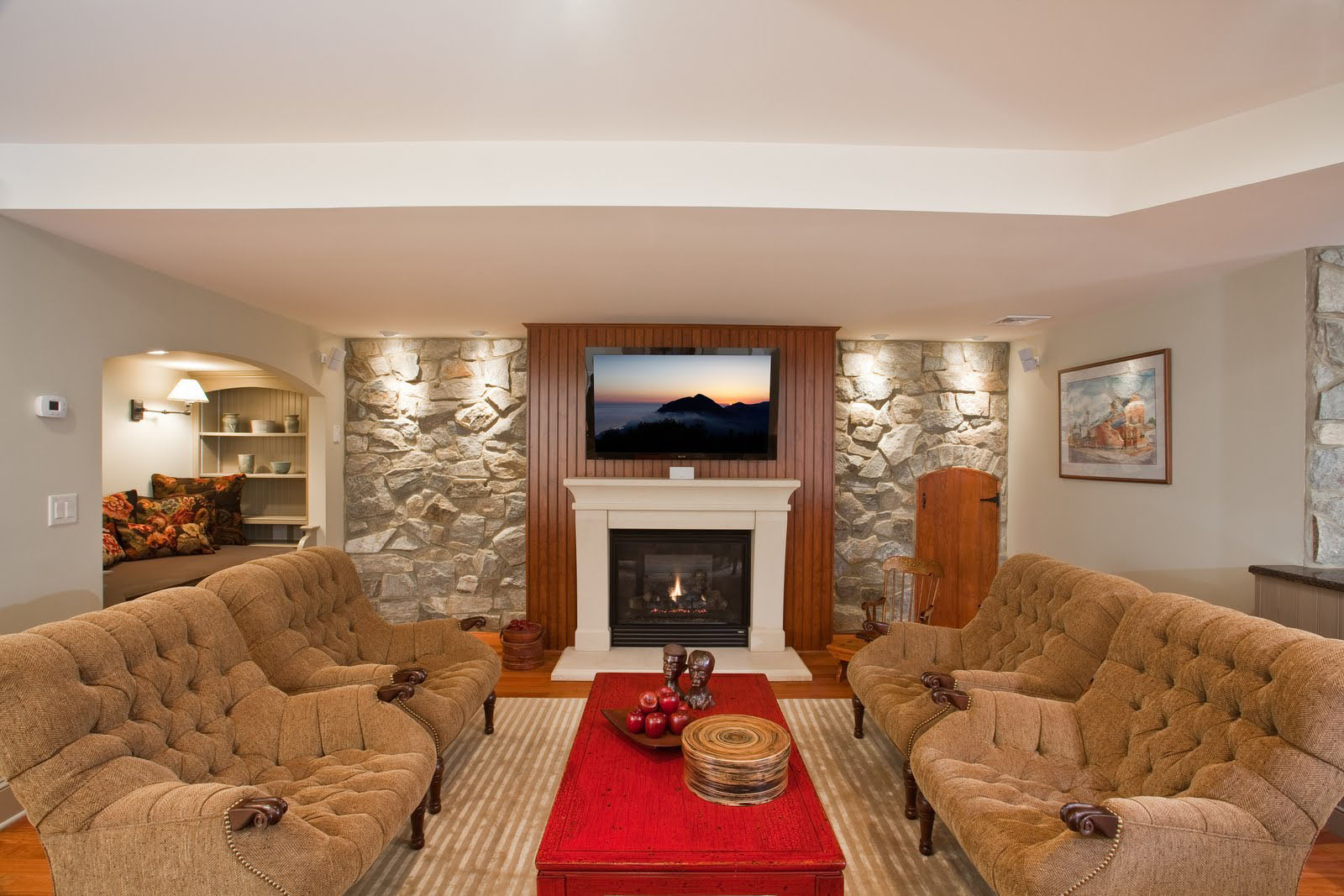 Residential Basement with Stone Walls