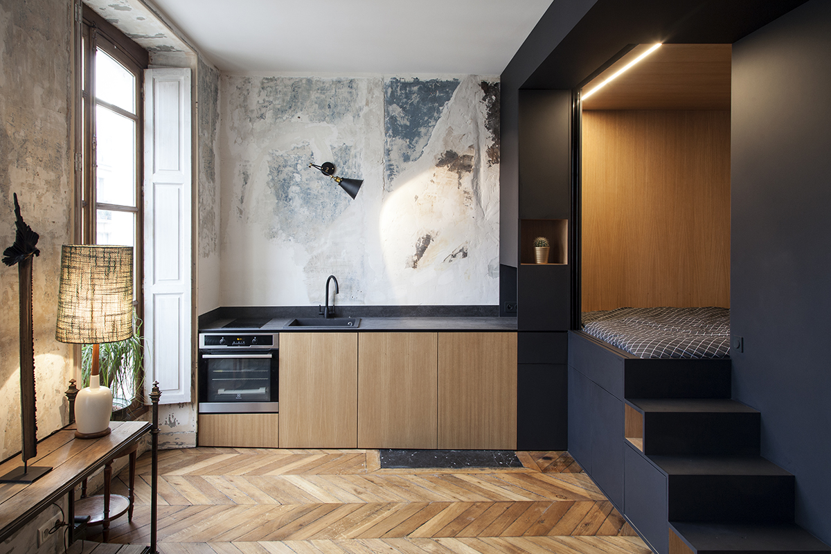 Refurbished Paris Studio Apartment Integrates Storage And Sleeping Space