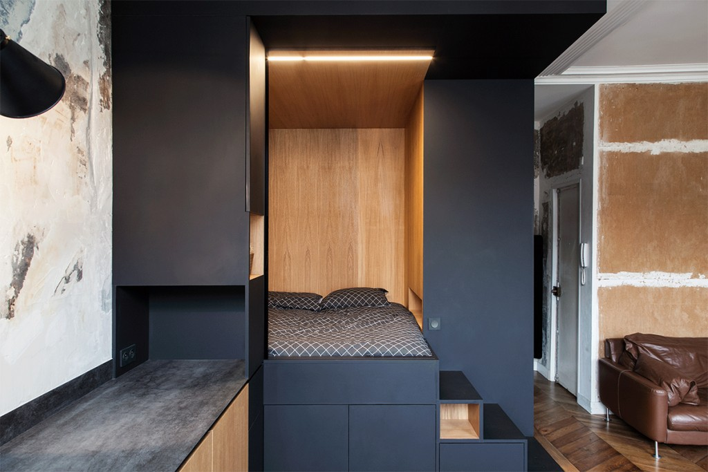 Refurbished Paris Studio Apartment Integrates Storage And
