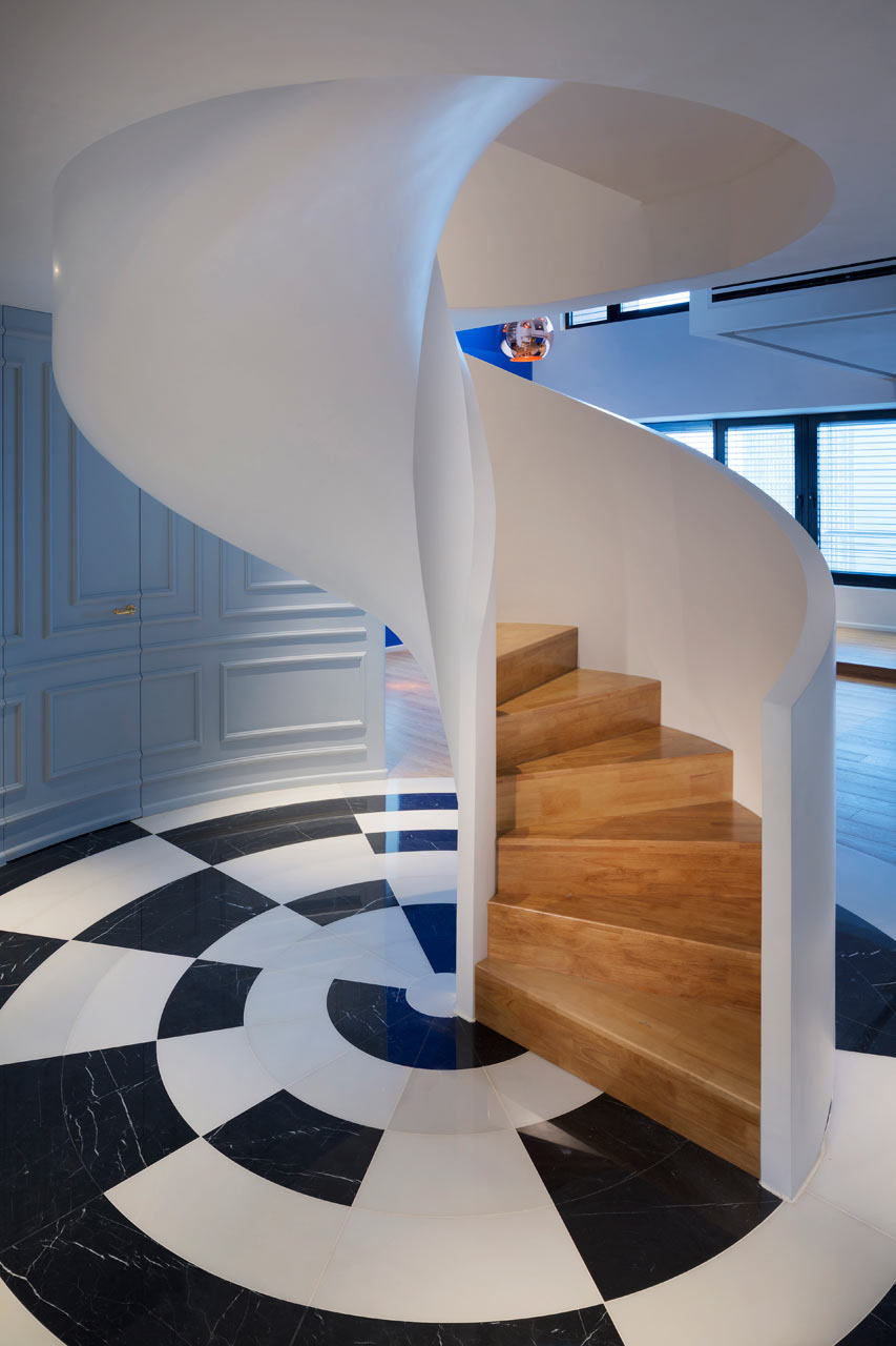 Modern Penthouse Spiral Staircase