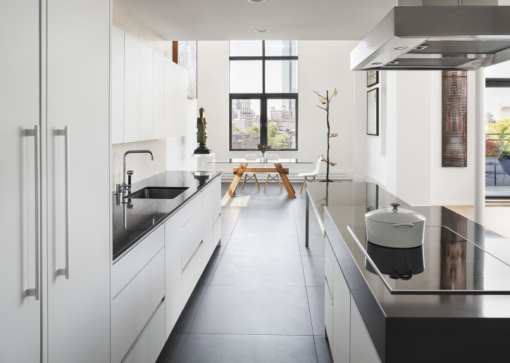 White Minimalist Apartment Kitchen Design