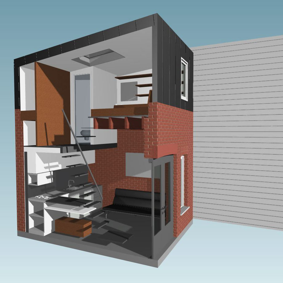 Micro Apartments: 160 Square Foot Micro Apartment In A Tiny Brick House