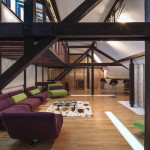 Wood Structure Defines Contemporary Renovated Attic Loft Apartment In Bucharest