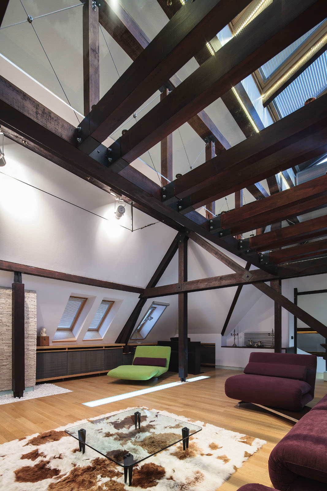 Wood Structure Defines Contemporary Renovated Attic Loft Apartment In Bucharest Idesignarch