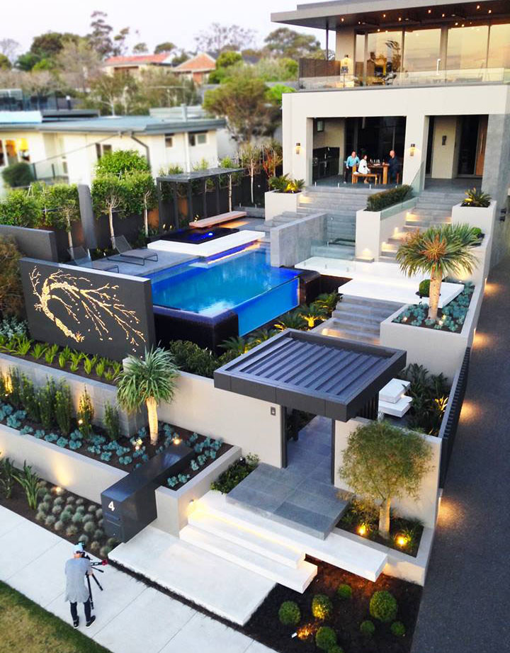 Contemporary home in melbourne with resort style modern for Modern landscape architecture
