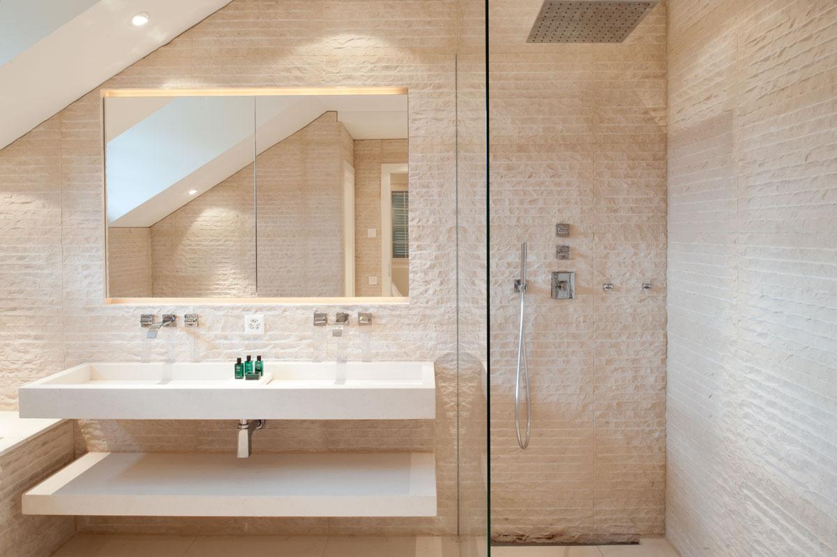 Modern Bathroom with Original Rustic Stone Wall