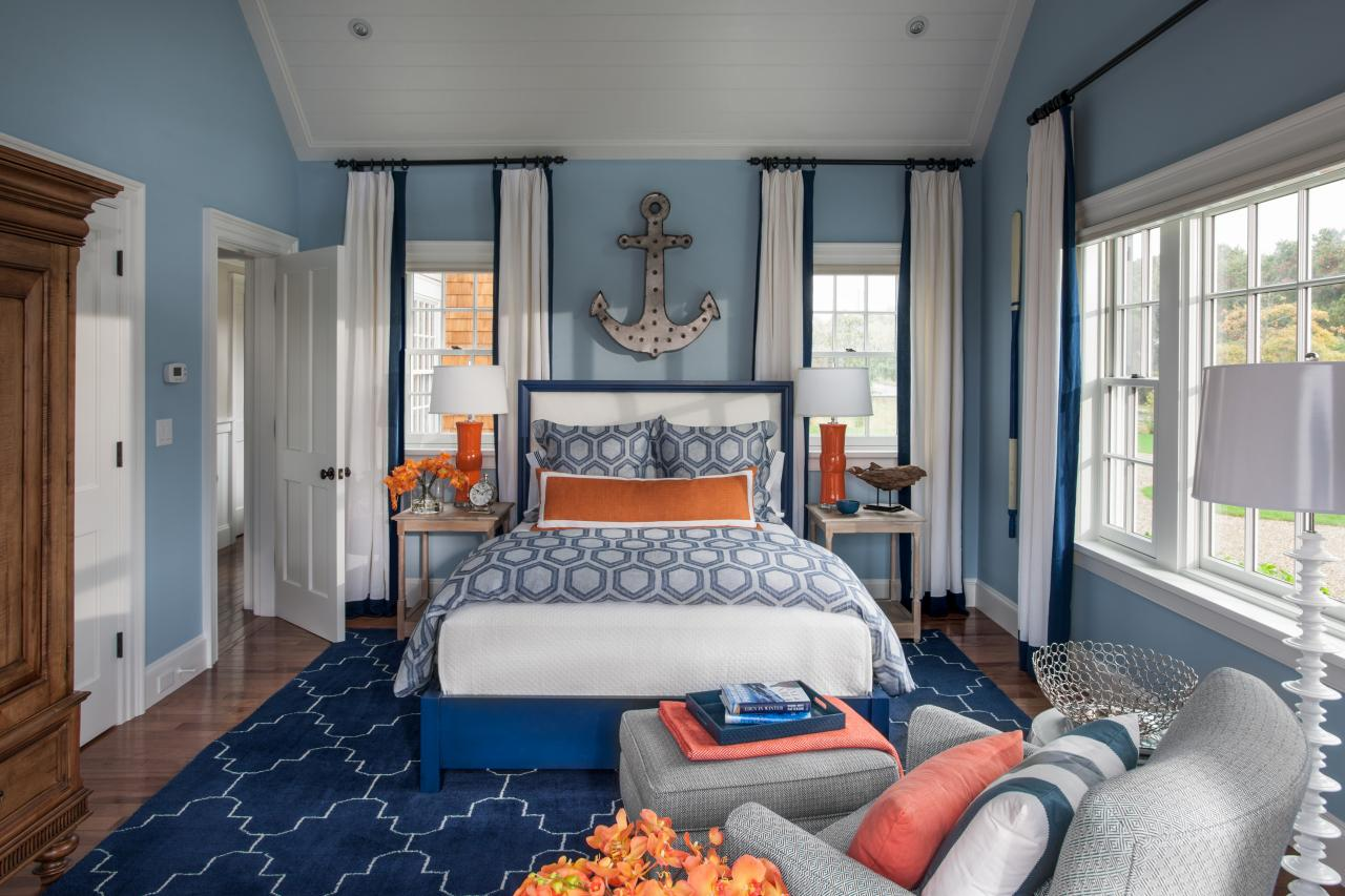 dream house with cape cod architecture and bright coastal nautical themed bedroom design with bright colors