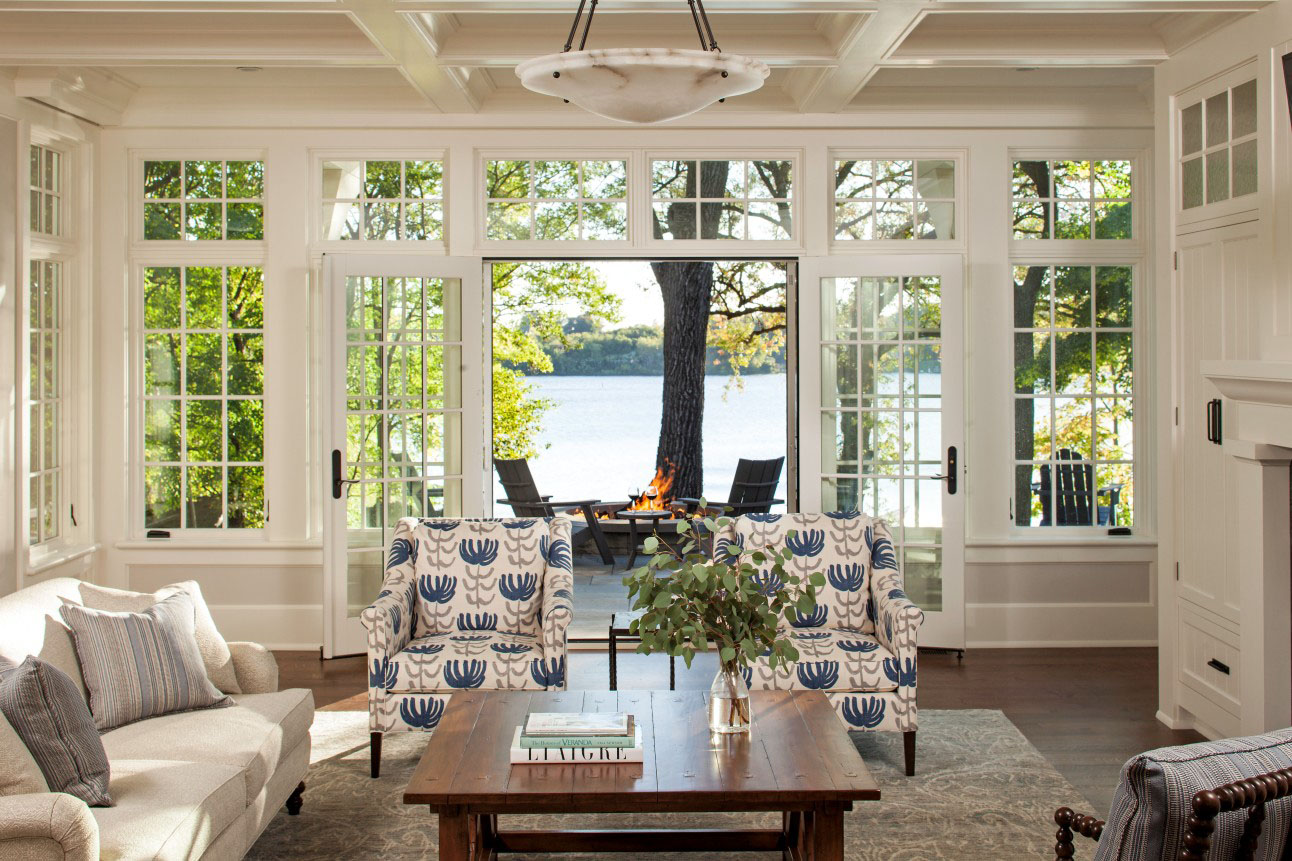 Shingle style lakeside cottage mansion idesignarch for Living room designs with french windows