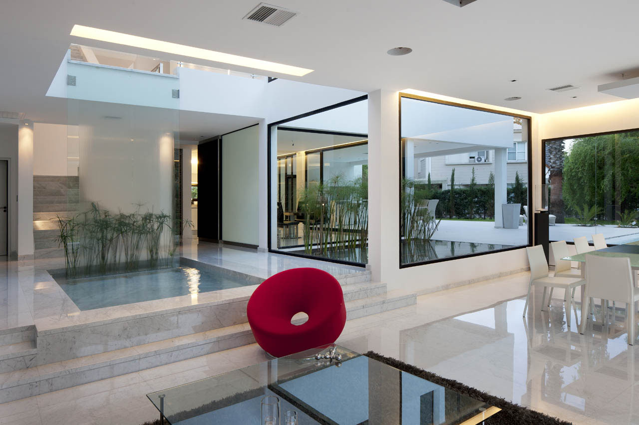 Carrara marble house in argentina idesignarch interior for Modern open plan houses