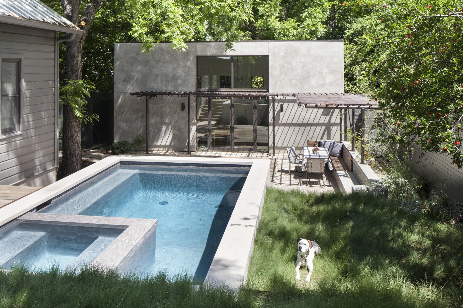 double height casita and new pool added to a small backyard