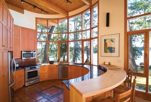 Circular Round Kitchen Design with Timber Wood Cabinet