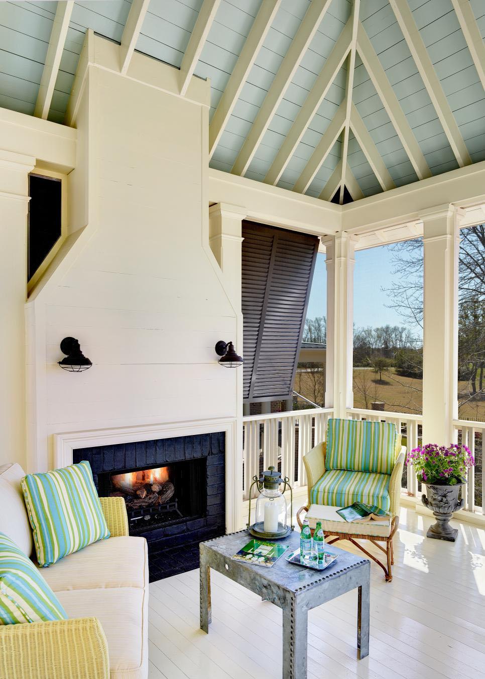 Coastal Gazebo with a Classic Fireplace