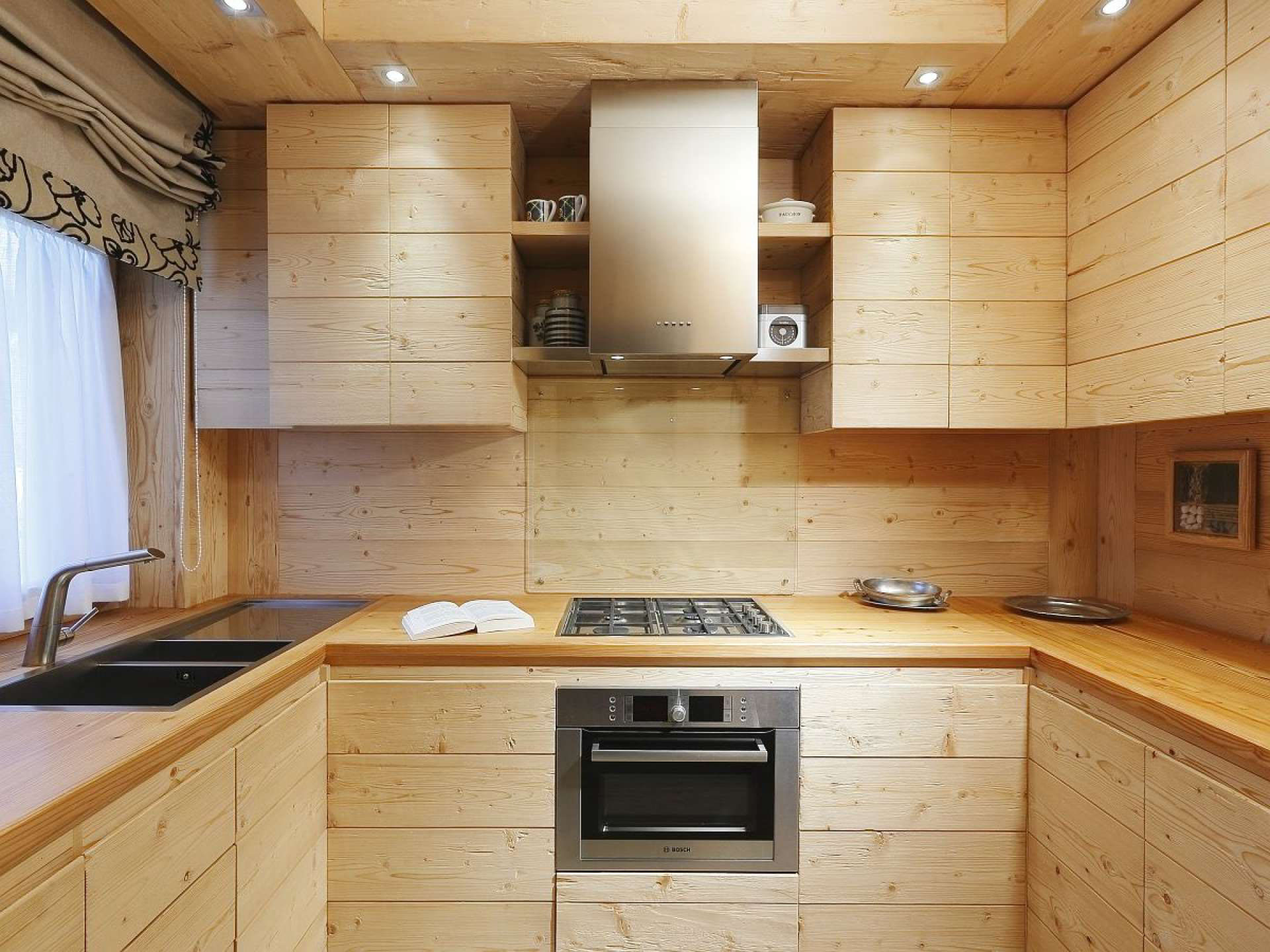 Rustic Natural Wood Kitchen Cabinets