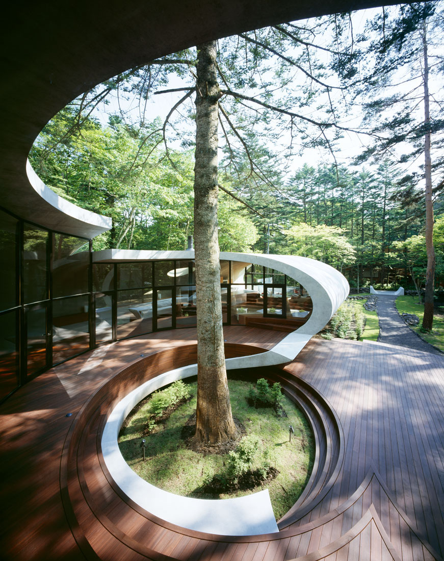 Futuristic Nature House Design: Concrete Shell Villa In The Forest