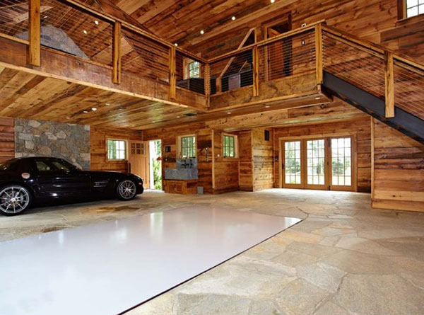 Luxury home garage with car elevator in connecticut for Garage mezzanine ideas