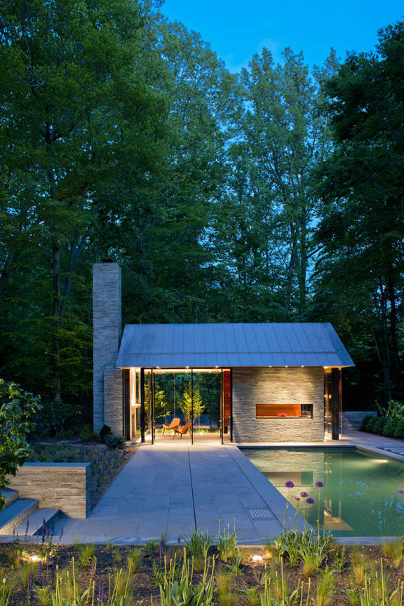 Contemporary garden pavilion pool house idesignarch for Pool and garden house plans