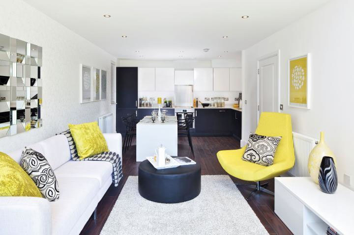 contemporary home design with a dash of yellow - Contemporary Home Decor