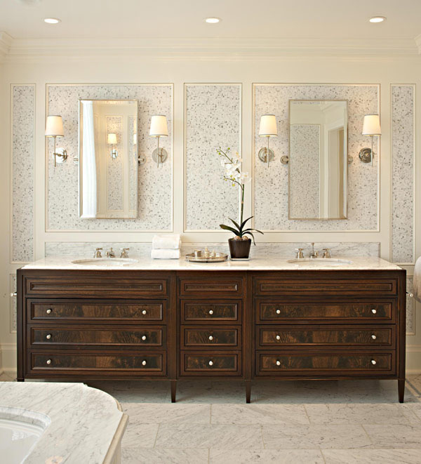 Classic Elegant Bathroom Flowers Roses Pearls: Elegant Contemporary Home Renovation In Toronto