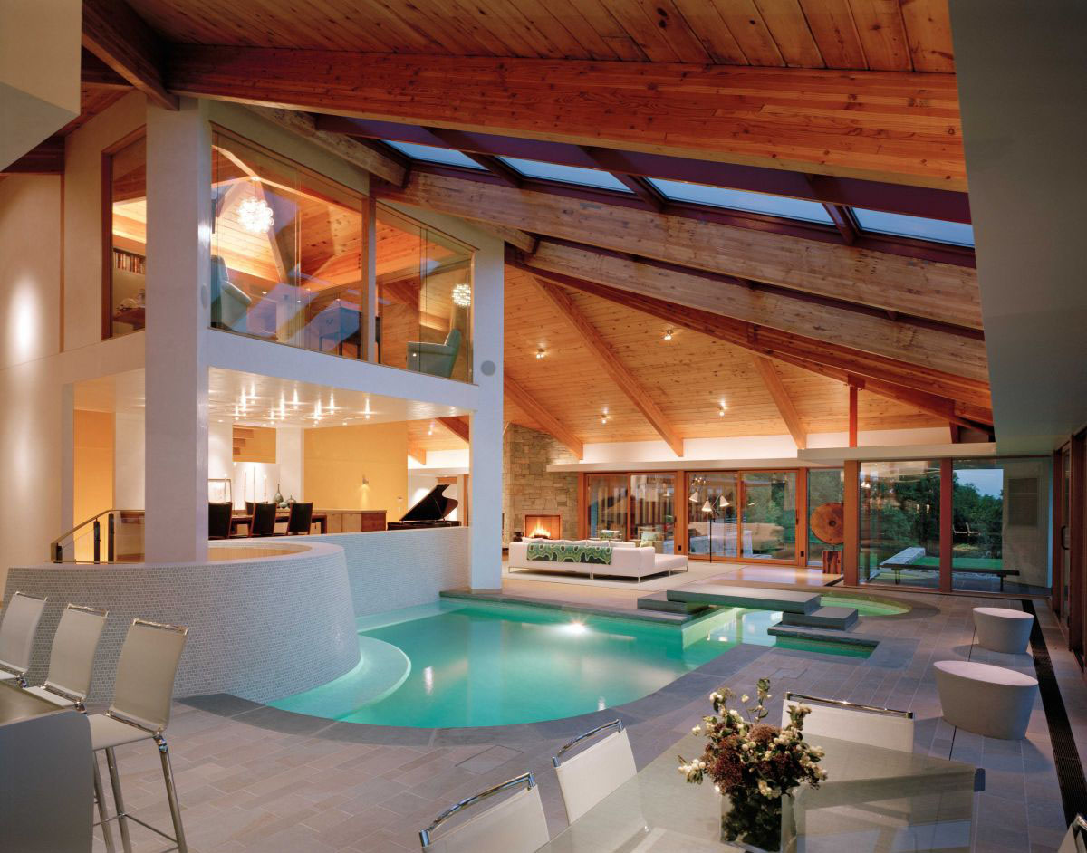 Beautiful Stone And Wood House With Indoor Swimming Pool As Central Focal Point on mountain patio ideas