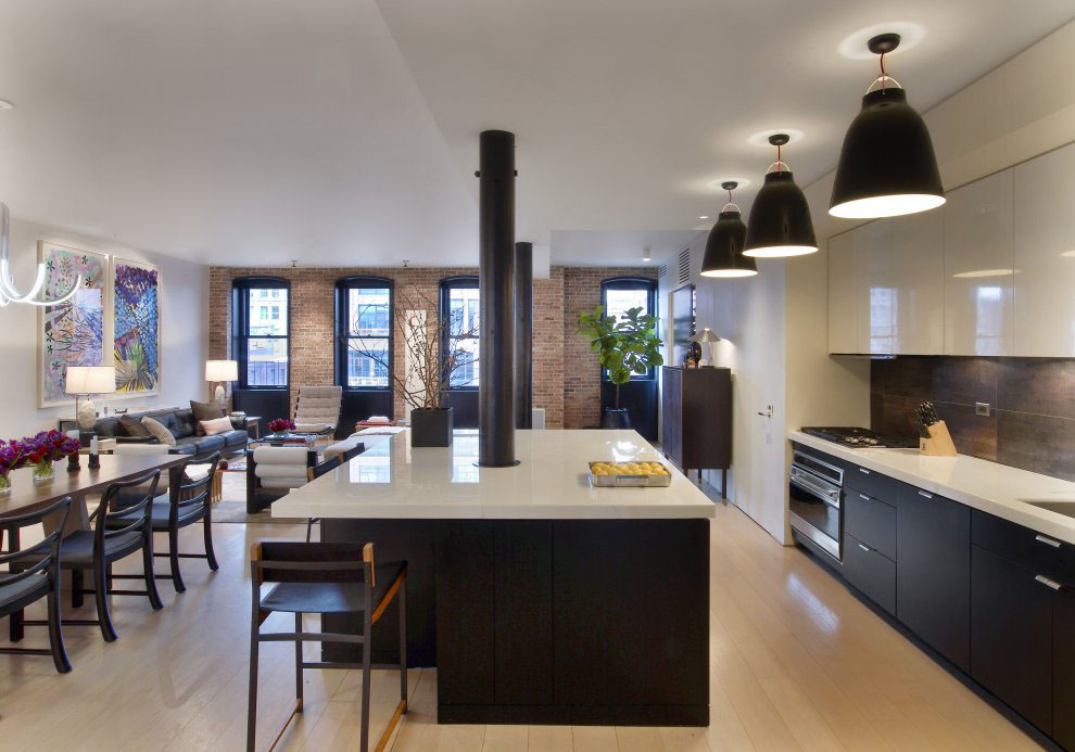 Contemporary tribeca apartment in new york city for Modern apartment kitchen design