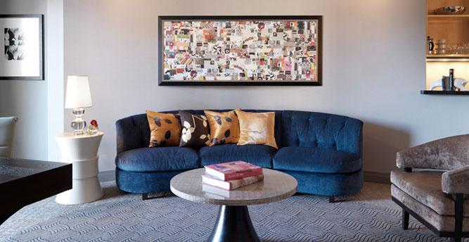 Stylish Modern Hotel Room Interior · Cosmopolitan Las Vegas Lobby Bar ·  Chandelier Curtain