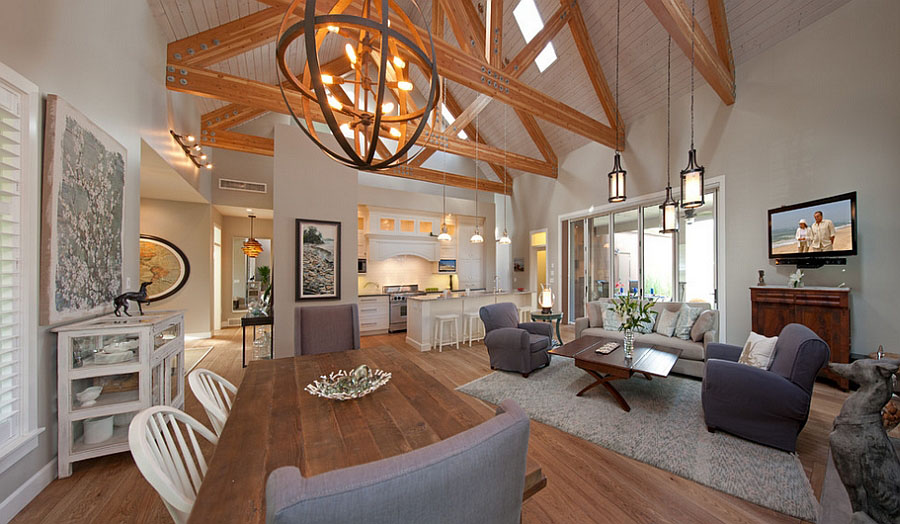 Contemporary Cottage with Wood Trusses