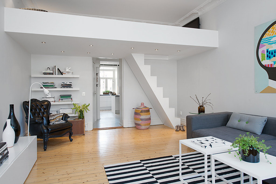 Custom built small loft apartment in stockholm for Small loft decor