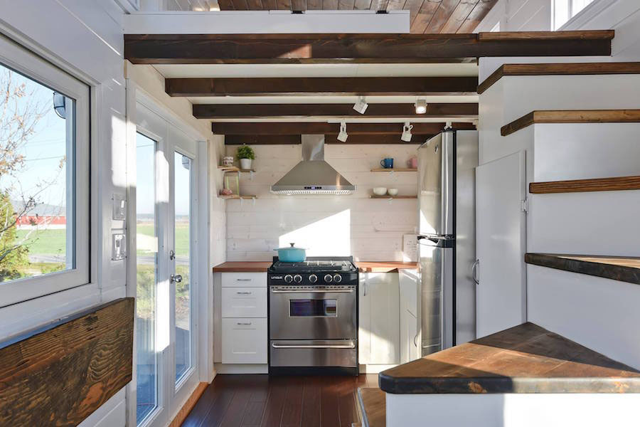 Tiny House With Loft molecule tiny homes with stairs to loft Custom Mobile Tiny House With Large Kitchen And Two Lofts
