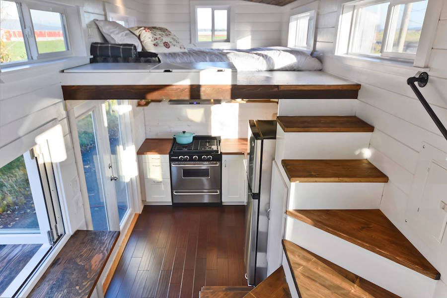 Tiny House With Loft the trinity tiny by alabama tiny homes with its unique back wall of the house located loft staircase i am surprised that more designs do not incorporate Tiny House Stairs To Sleeping Loft