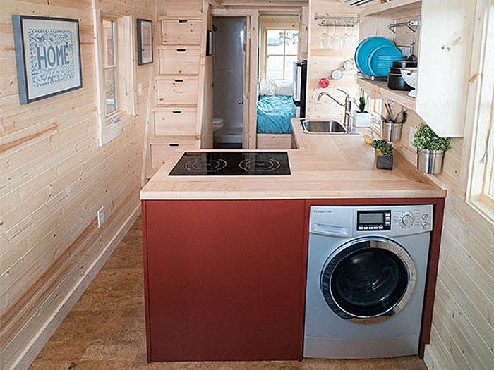 Tiny House Kitchen With Washer