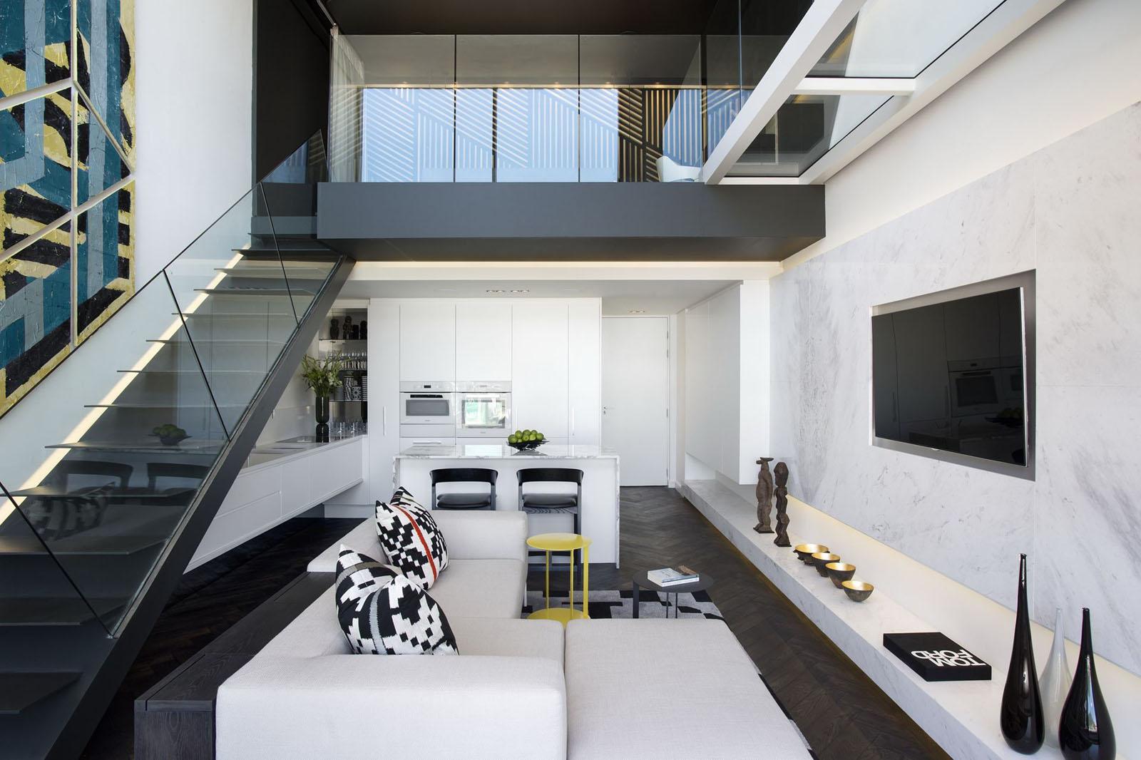 Trendy cape town waterfront duplex penthouse apartment - Decoracion de apartamentos modernos ...