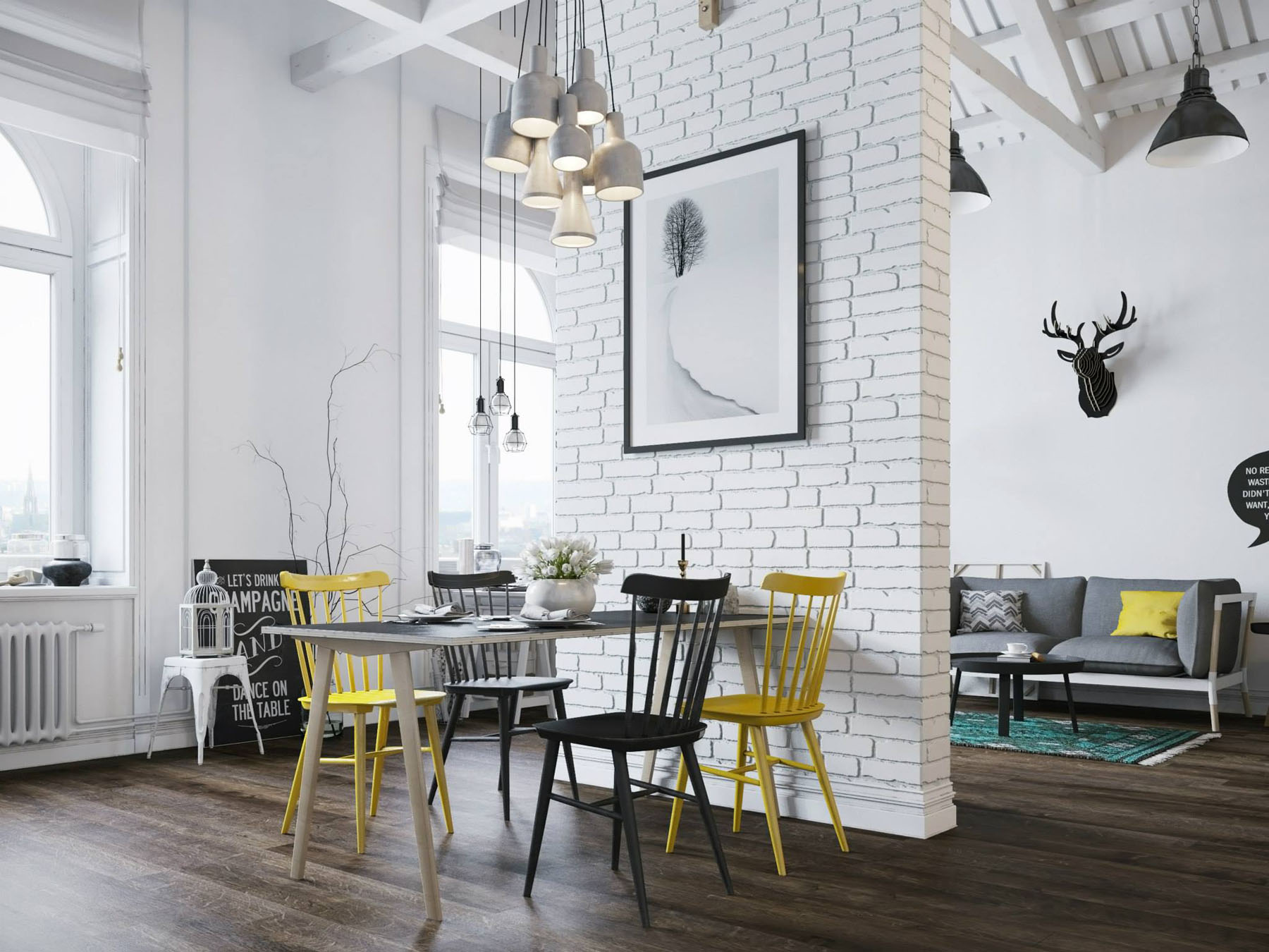 Small modern loft in prague with scandinavian style decor for Small loft decor